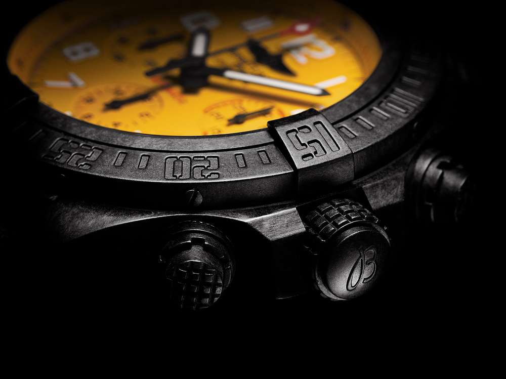 Breitling Avenger Hurricane-45 Yellow Dial - crown CU