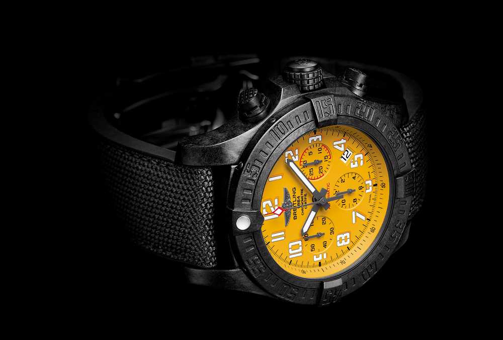 Breitling Avenger Hurricane-45 - Yellow Dial - side