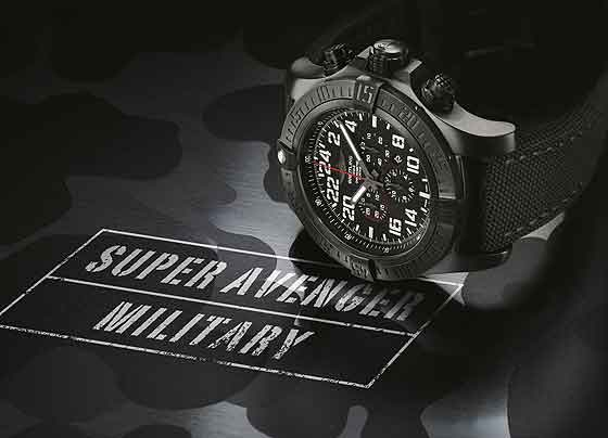 Breitling Super Avenger Military Limited Series - reclining -name/military camouflage design background