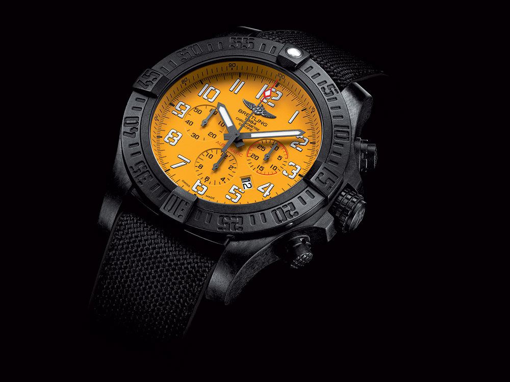 Breitling Avenger Hurricane 12-Hour Yellow Dial - angle
