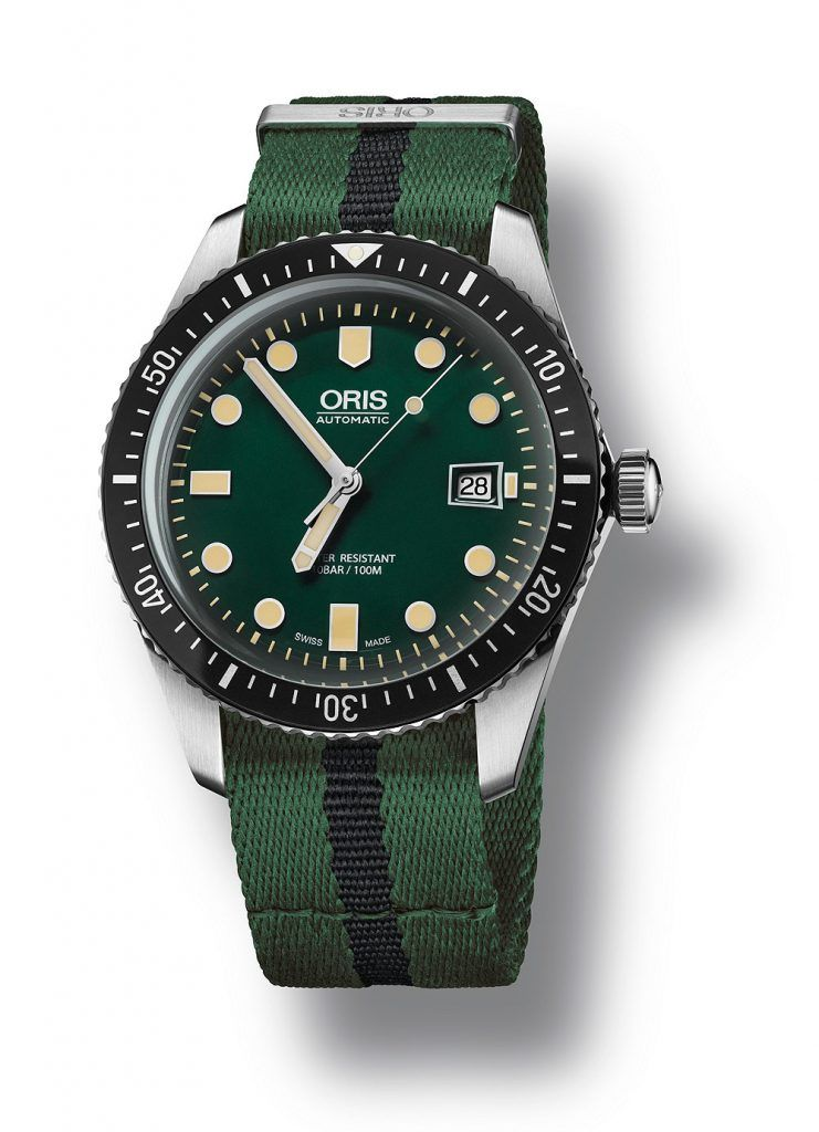 Oris Divers Sixty-Five, green dial and nato strap