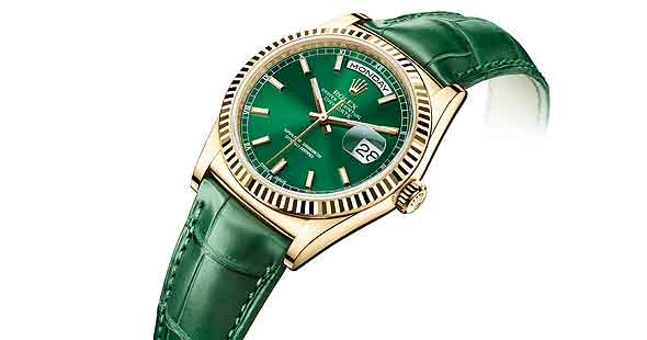 Rolex Day-Date, yellow gold case, green dial